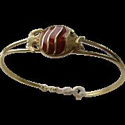 18kt Yellow Gold Vintage  Enamel Fish Bangle Bracelet