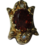 14kt Yellow Gold Vintage Diamond and Dark Orange Citrine Slide