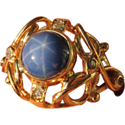 9kt Yellow Gold Lindy Star Sapphire/Diamond Ladies Artisan Ring