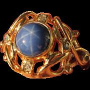9kt Yellow Gold Lindy Star Sapphire/Diamond Ladies Artisan Ring