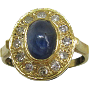 9kt Yellow Gold Cabochon Oval Navy Blue Sapphire/Multi Diamond Ladies Ring