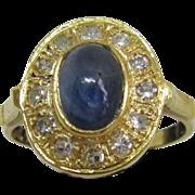 9kt Yellow Gold Cabochon Oval Navy Blue Sapphire/Multi Diamond Ladies Ring