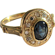 18kt Yellow Gold Oval Sapphire/Diamond Artisan Ladies Ring