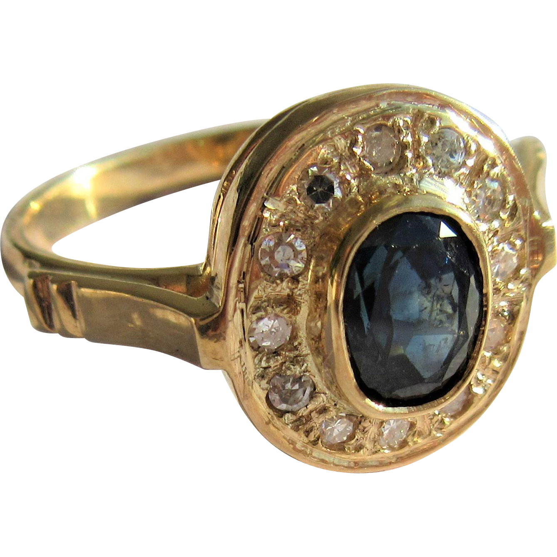 18kt Yellow Gold Oval Sapphire/Diamond Artisan Ladies Ring