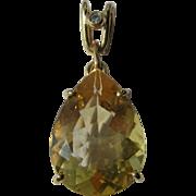 14kt Yellow Gold Pear Shape Golden Citrine and Diamond Vintage Pendant