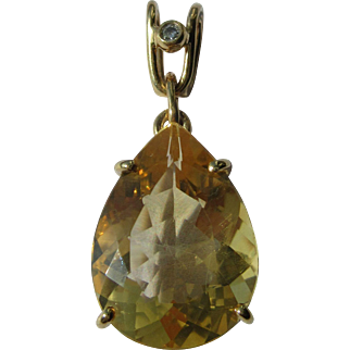 14kt Yellow Gold Pear Shape Golden Citrine and Diamond Vintage Pendant