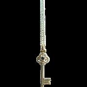 Silver Key Pendant , Sapphire Key Pendant, Silver Sapphire Key Pendant, Key Pendant, Key Jewelry, Silver Chain