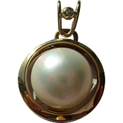 Mabe Pearl Pendant, Vintage Mabe Pearl Pendant, 14kt Gold Mabe Pearl and Diamond Pearl, Mabe Pearl Jewelry, Vintage Mabe Pearl Jewelry