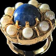 Lapis Lazuli Ring, Vintage Lapis Lazuli Ring, Gold Lapis Lazuli and  Culture Pearl Ring, Vintage Ring, Lapis Lazuli Ladies Ring