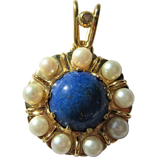 Lapis Lazuli Pendant, Vintage Lapis Lazuli Pendant, Lapis Lazuli/Culture Pearl Pendant, Diamond Bale