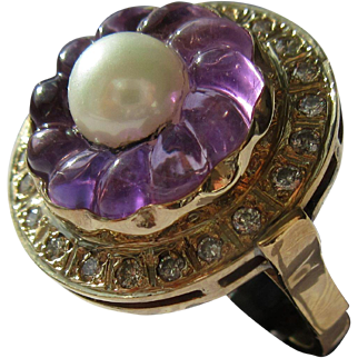 Carved Amethyst Floral Ring, Amethyst Diamond and Culture Pearl Ring, Gold Vintage Carved Amethyst Ladies Ring