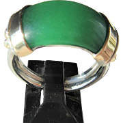 Jade, Silver Jade Ring, Silver/9kt Yellow Gold Jade Ring, Unisex Jade Ring, Jade Ring, Artisan