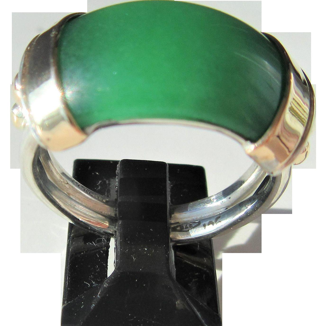 Jade, Silver Jade Ring, Silver/9kt Yellow Gold Jade Ring, Unisex Jade Ring, Jade Ring, Artisan