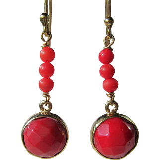 9kt Yellow gold Red Coral Dangle Earrings, Artisan, Coral Earrings, Red Coral Earrings, Pierced Ear Coral Earrings, Gold Coral Earrings, Coral