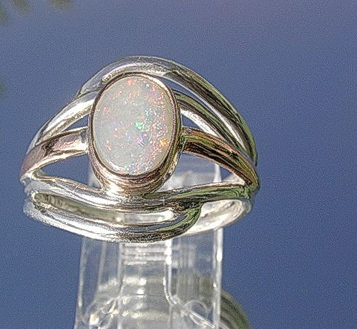 Sterling Silver/9kt Pink Gold Opal Wave Artisan Ring