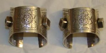 Rare Solid Etched Libyan Silver Bracelet Pair