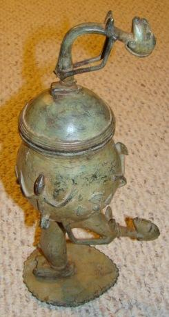 1900 Antique African Benin Female Figure Bronze Pot
