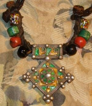 Charming Silver Berber 1979 Enameled Southern Cross Pendant Necklace