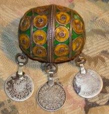 Attractive Old Morroccan Enameled Silver Ball Pendent w Old Coins