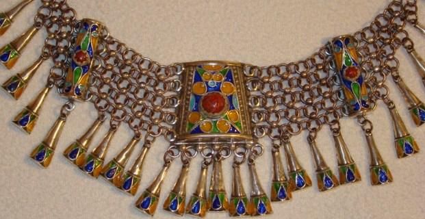 Algerian Kabyle Style Silver Enameled Necklace with Corals & Cone-shaped Dangles