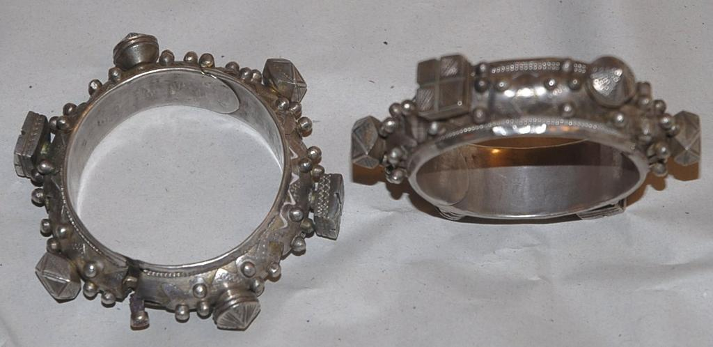 Ornately Etched Silver Mauritanian Knobby Bracelet Pair