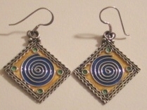 Moroccan Berber Silver Enameled Square Earrings