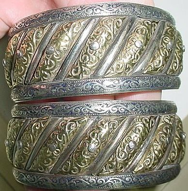 Intricate Moroccan Gold/Silver Sun Moon Bracelet Pair