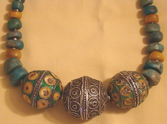 Moroccan Berber Necklace with Enameled Silver Balls, Amazonite and Amber Beads