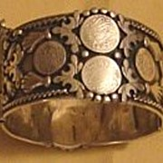 Moroccan Berber Silver Bangle with Coins