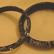 Tuareg Gazelle Horn Bracelet Pair with Wiry Patterns