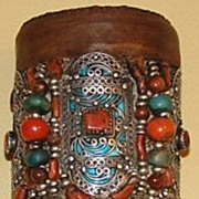 Tall Berber Enameled Silver Leather Bangle with Precious Beads