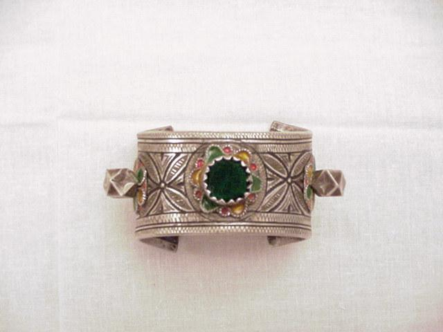 Berber Open Enameled Bangle Bracelet
