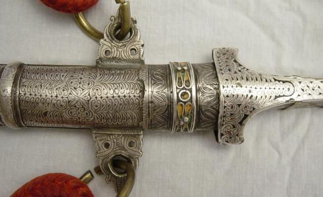 Collectible Antique Moroccan Silver Copper Enameled Dagger