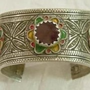 Silver Berber Enameled Open Bangle w Red Glass Stone No. 2