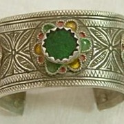 Silver Berber Enameled Open Bangle w Green Glass Stone No. 3