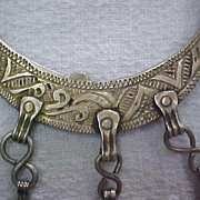 Large Antique Berber Haha Silver Hand-tooled Earrings