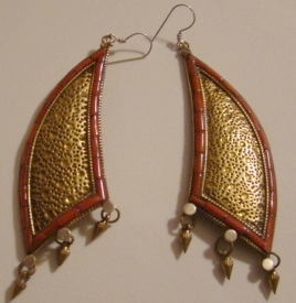 Tibetan Gold-plated Silver Earrings with Corals