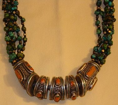 Gorgeous Antique Tibetan Turquoise Silver Coral Necklace
