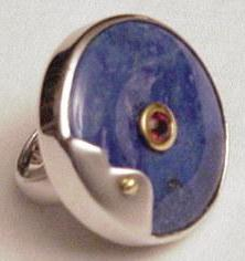 Silver Lapis Ring with Pink Stone