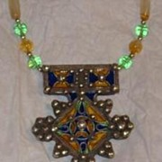 Enameled Silver Tuareg Pendent Beaded Necklace