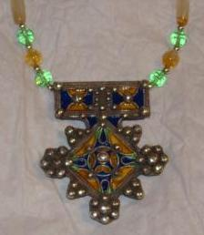 Enameled Silver Tuareg Pendent Beaded Necklace