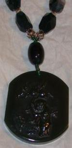 Dark Green Double-sided Jade Pendent Necklace