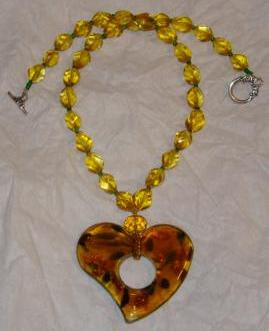 Multi-color Glass Heart Pendent Necklace #2