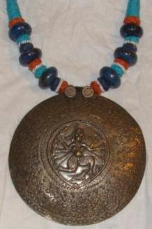 Large Indian Silver Goddess Disk Pendent Necklace with Lapis Beads