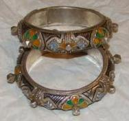 Matching Pair of Berber Enameled Silver Knobby Bracelets