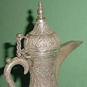 Antique Ornate Silver Yemeni Flowery Coffee Kettle