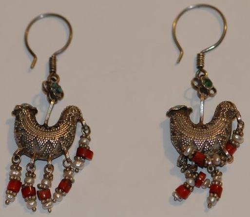 Lovely Detailed Kazak Silver Lucky Bird Earrings