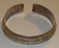 Asian Hmong Minority Etched Silver Bangle No. 1