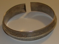 Asian Hmong Minority Etched Silver Bangle No. 2