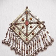 Large Antique Silver Turkoman Pendent